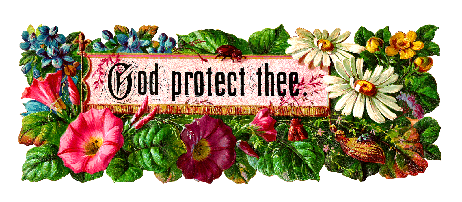 Antique Images  Free Flower Clip Art  Religious Flower Label With God