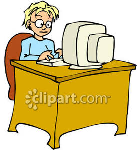 Boy Sitting At A Computer On A Desk Royalty Free Clipart Picture