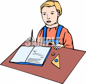 Boy Sitting At A Desk Clipart Picture