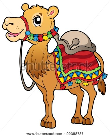 Cartoon Camel With Saddlery   Vector Illustration    Stock Vector