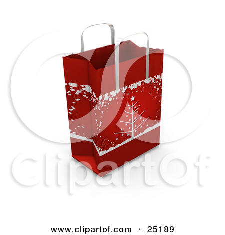 Clipart Illustration Of A Red Christmas Gift Bag With A Christmas Tree
