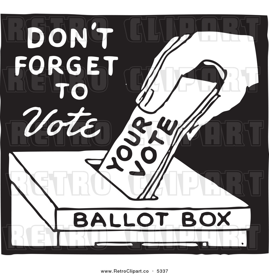 Voting clipart black and white