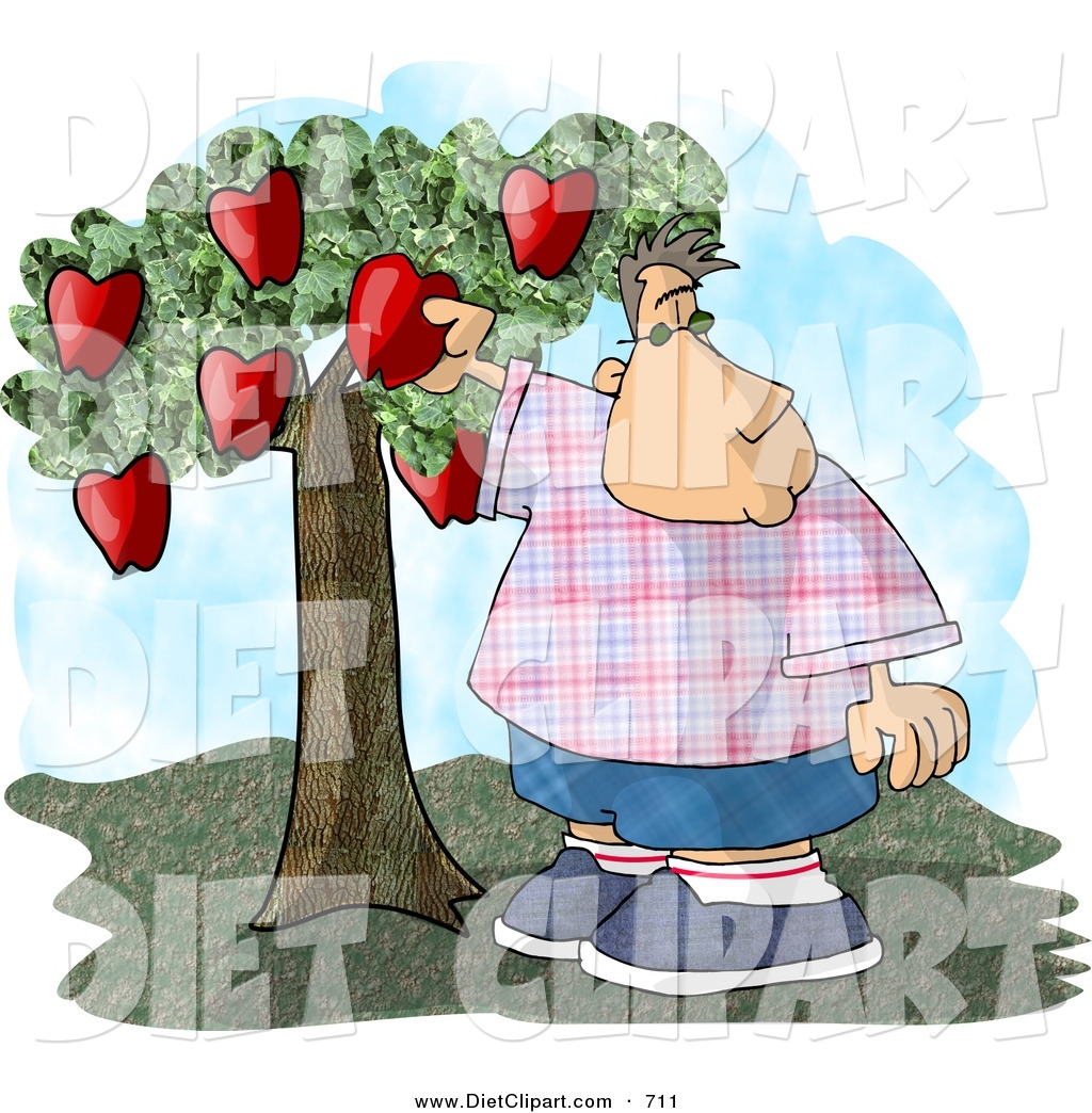 Diet Clip Art Of A Chubby Boy Picking A Red Apple From A Small Apple