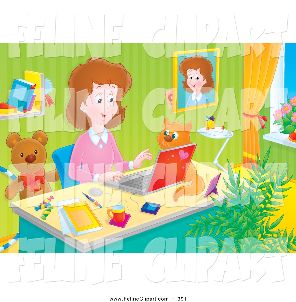 Feline Clip Art Of A Stay At Home Mother Working At Her Desk On A