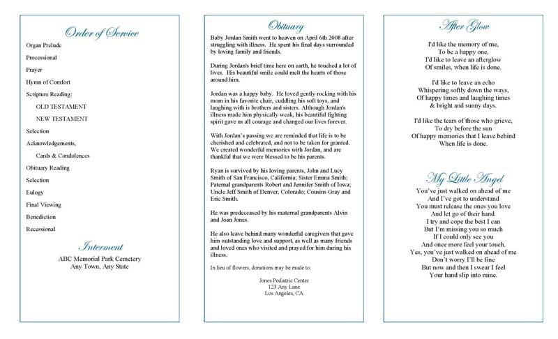 Funeral Program Template   Funeral Programs   Trifold Blue Angel