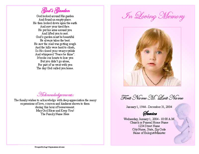 Funeral Program Templates   Precious Pink Angel Graduated Fold