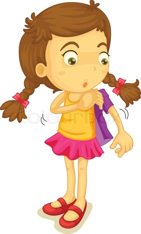 Girl Getting Dressed Clip Art