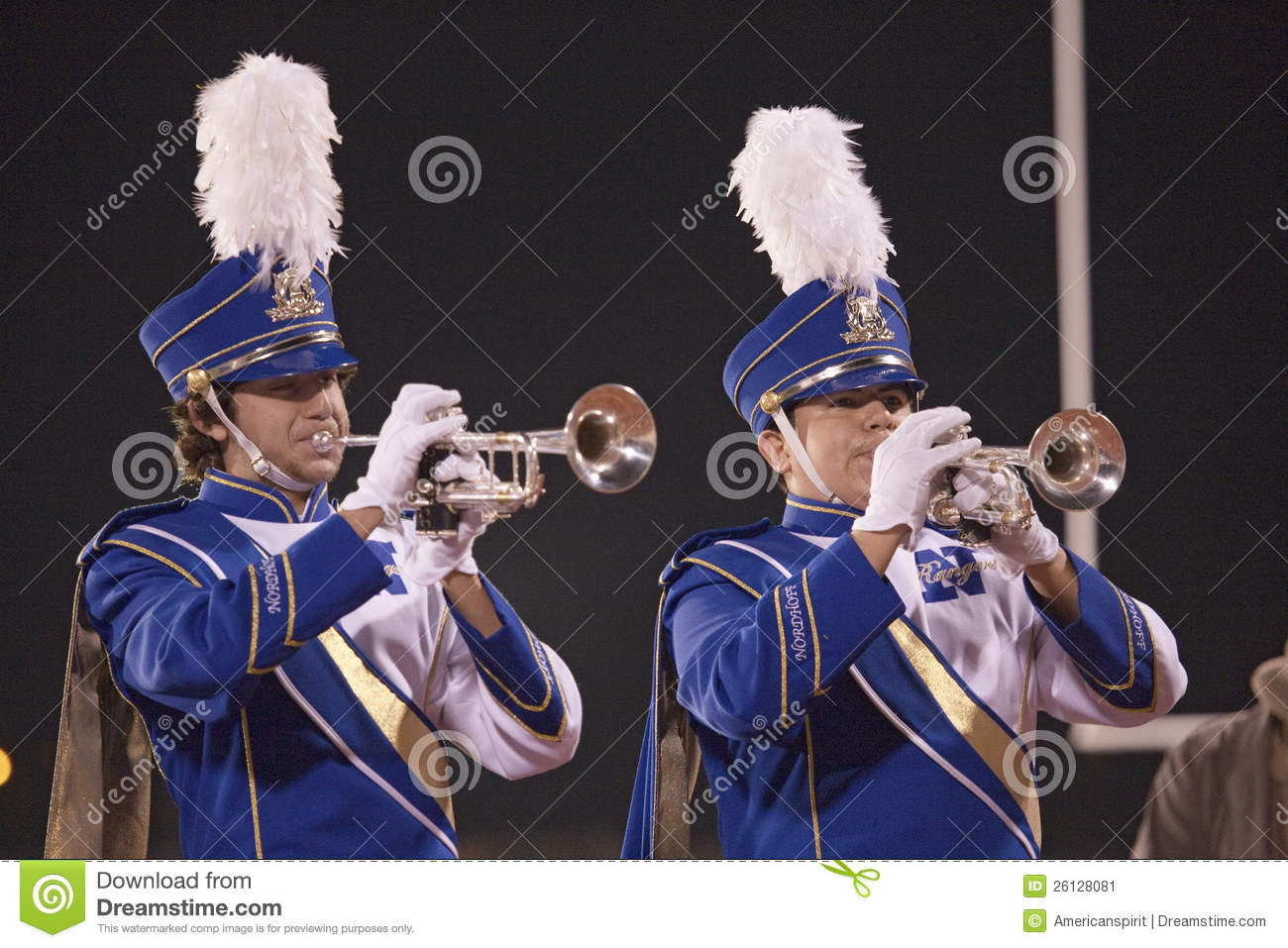 High School Marching Band Trumpet Players At Halftime Where Ojai