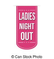 Ladies Night Out Banner Design Over A White Background