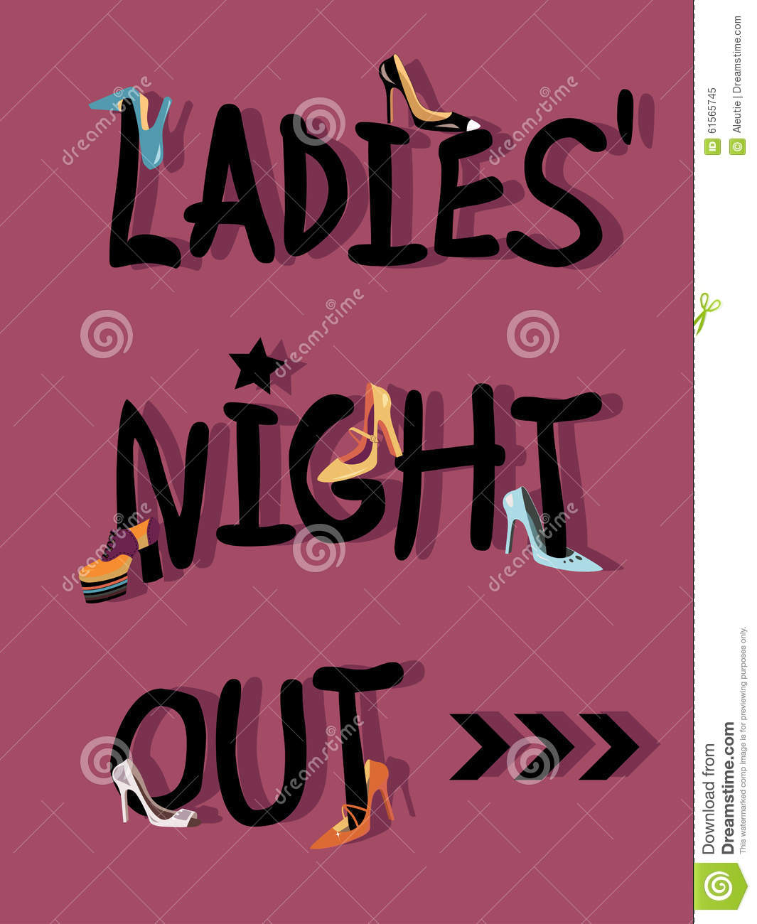 Ladies  Night Out Invitations Card Design With Shoes Eps 8 Vector