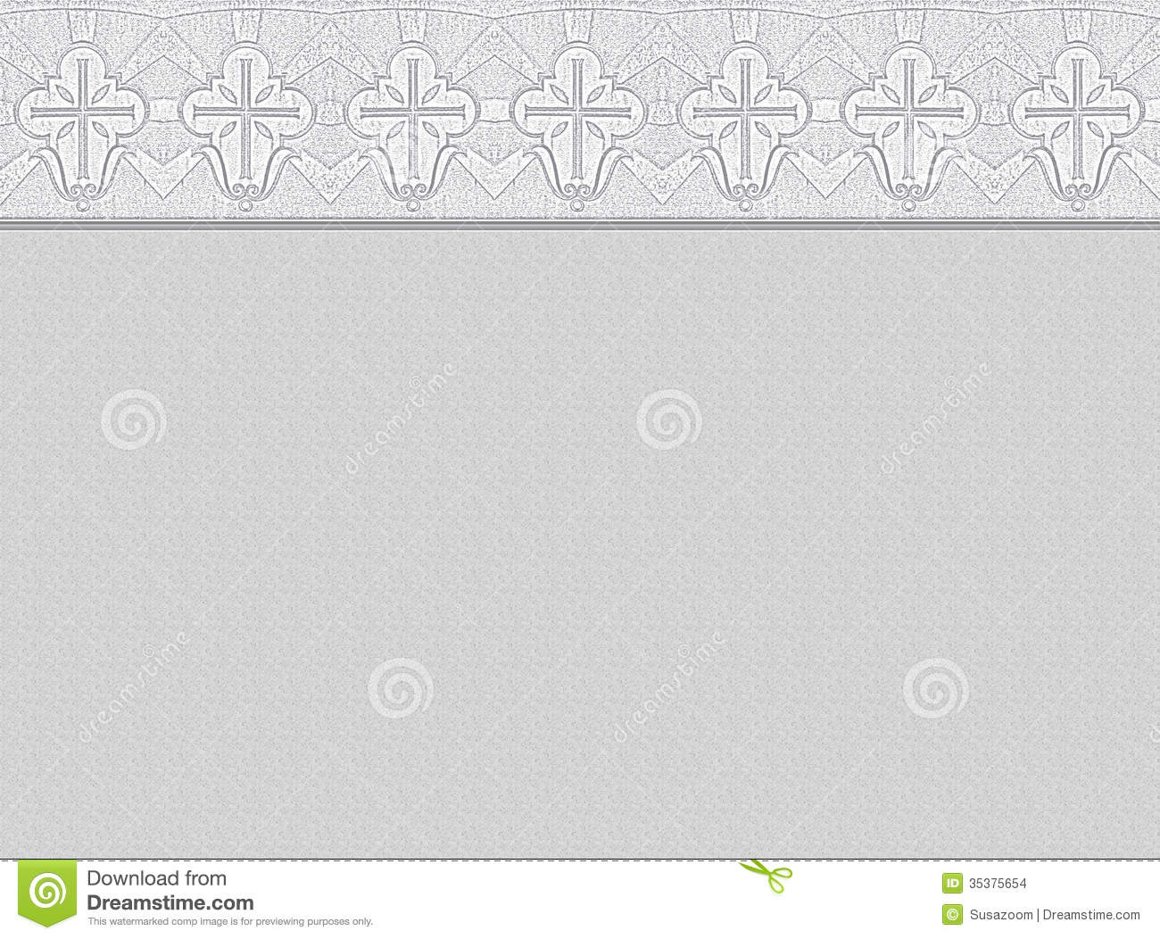 Light Grey Background With Ornamental Border Made Of Christian Cross