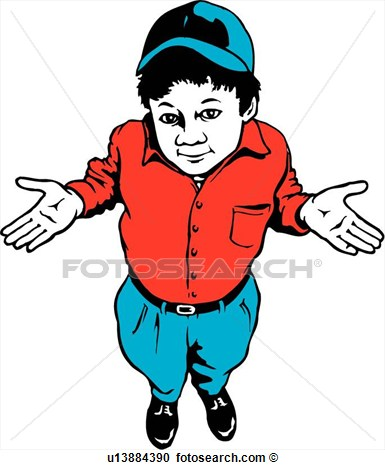 Lineart Dunno Don T Know Boy Kid View Large Clip Art Graphic