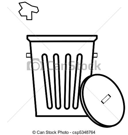 Of Garbage Can With Litter Being Tossed In   Outline Of Garbage
