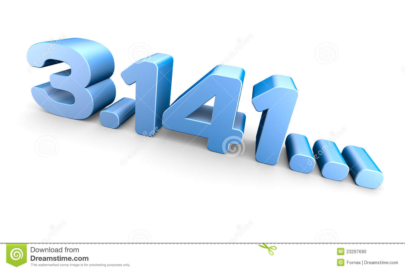 Pi Number 3d Rendering Over White Background