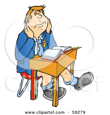 Rf  Clipart Illustration Of A Bored High School Boy Sitting At A Desk