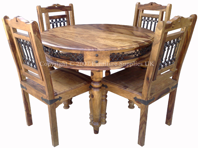 Sheesham Jali Round Dining Table 4 Chairs Real Wood Dining Set
