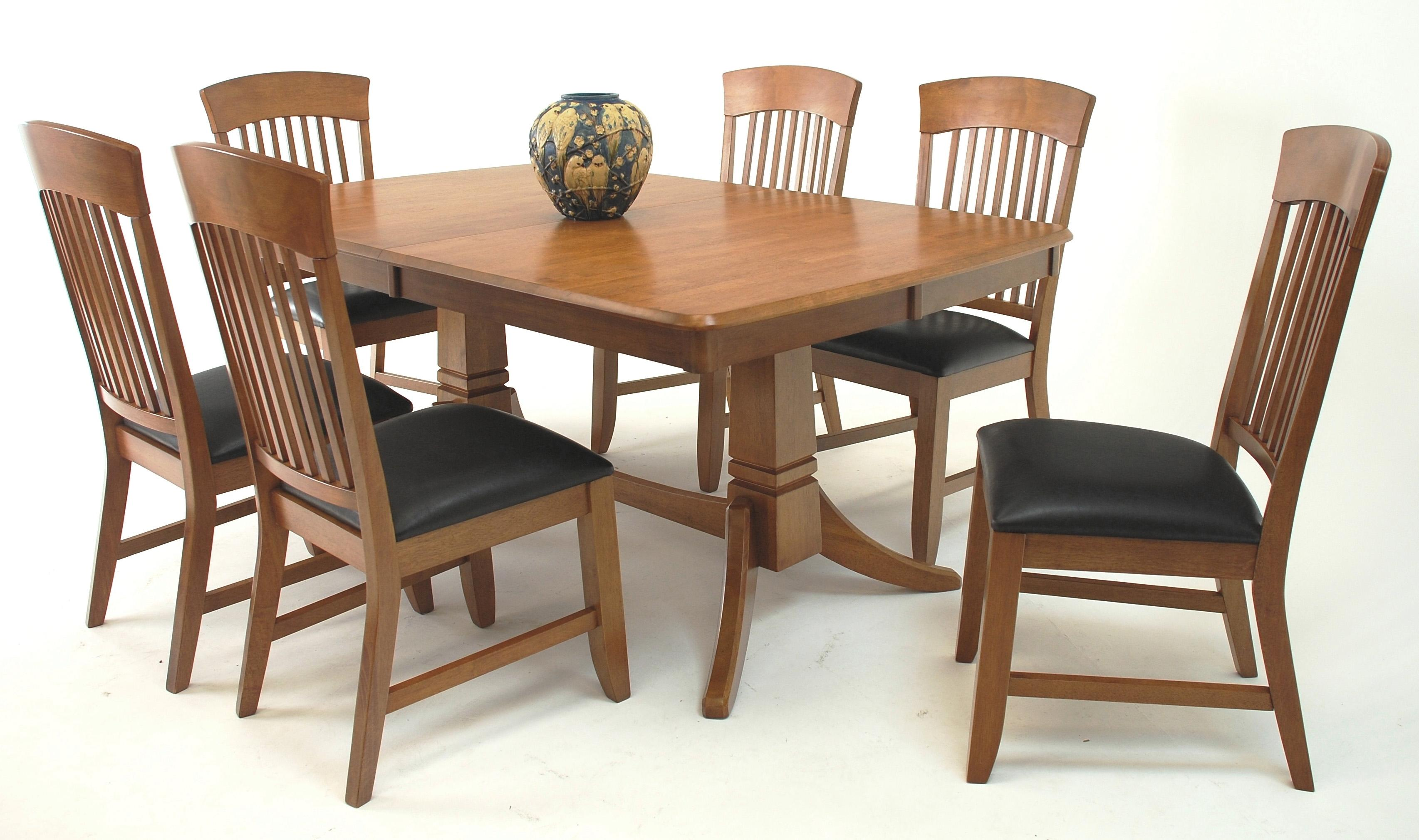 Suburban home trestle dining table and chair set broadway for Dining set with bench and chairs