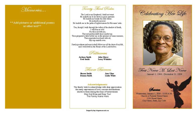 Trifold Beloved Angel Funeral Program Template