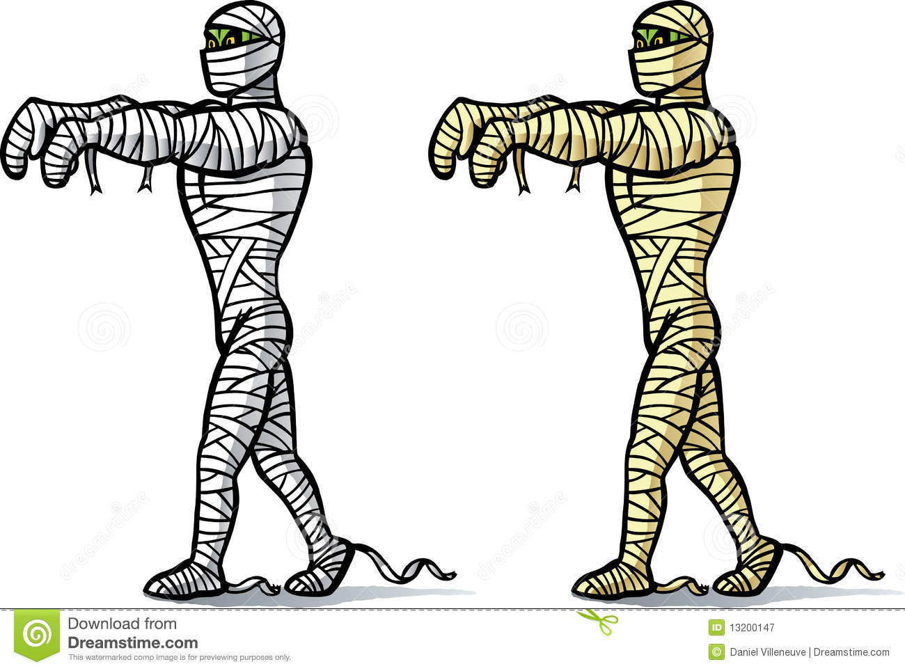Two Differently Coloured Mummies Walking  Can Be Used For Anything