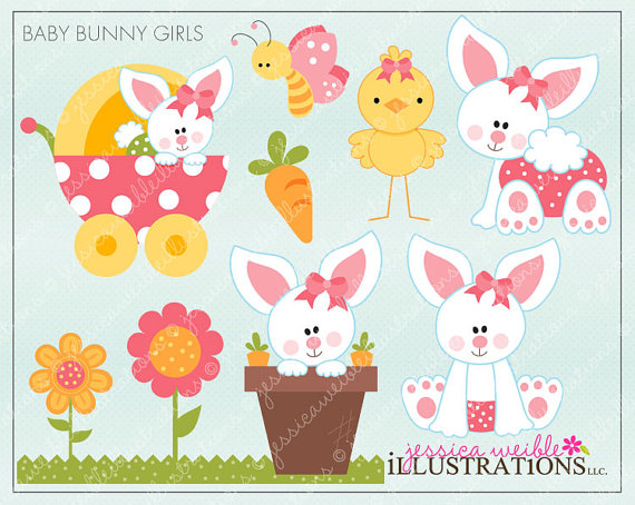 Baby Bunny Girls Cute Digital Clipart For Invitations Card Design