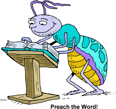 Bug At A A Pulpit Reading Pages Of A Bible   Christart Com