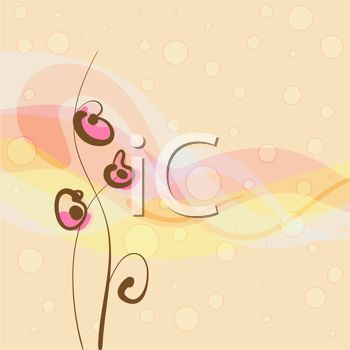 Clipart Image  Modern Love Background With Heart Flowers And Bubbles