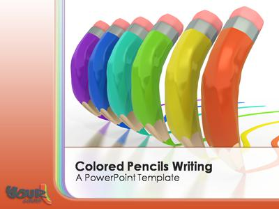 Colored Pencils Writing   A Powerpoint Template From Presentermedia