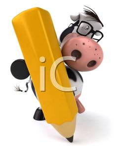 Colorful Cartoon Of A Cow Writing With A Pencil   Royalty Free Clipart