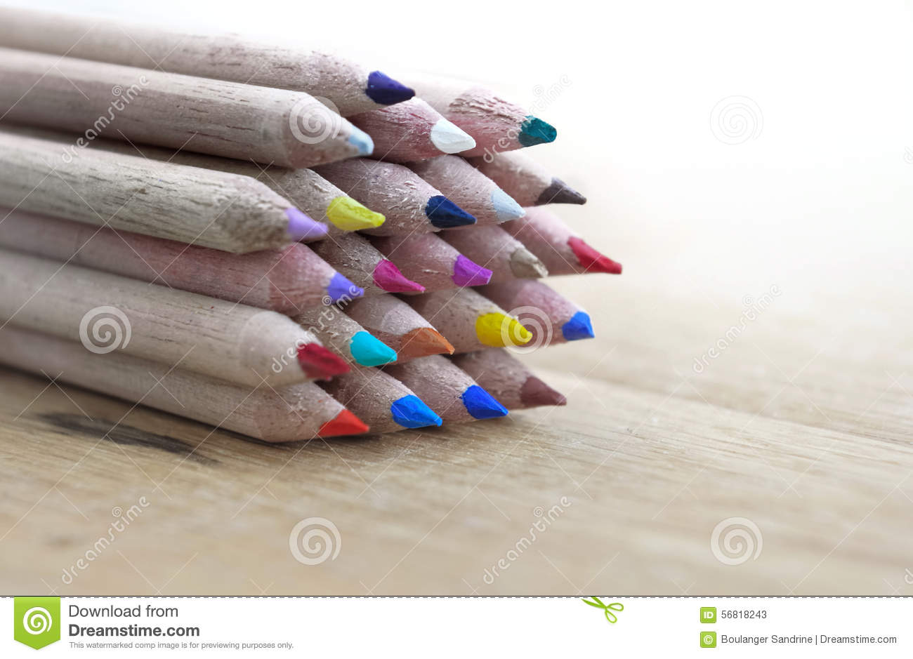 Colorful Lead Pencils On Wooden Background