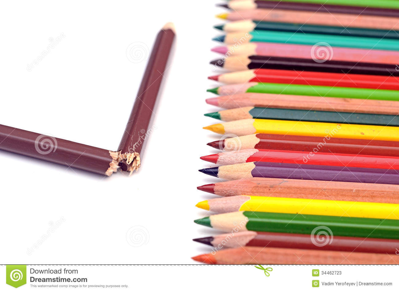 Colorful Pencils And One Broken