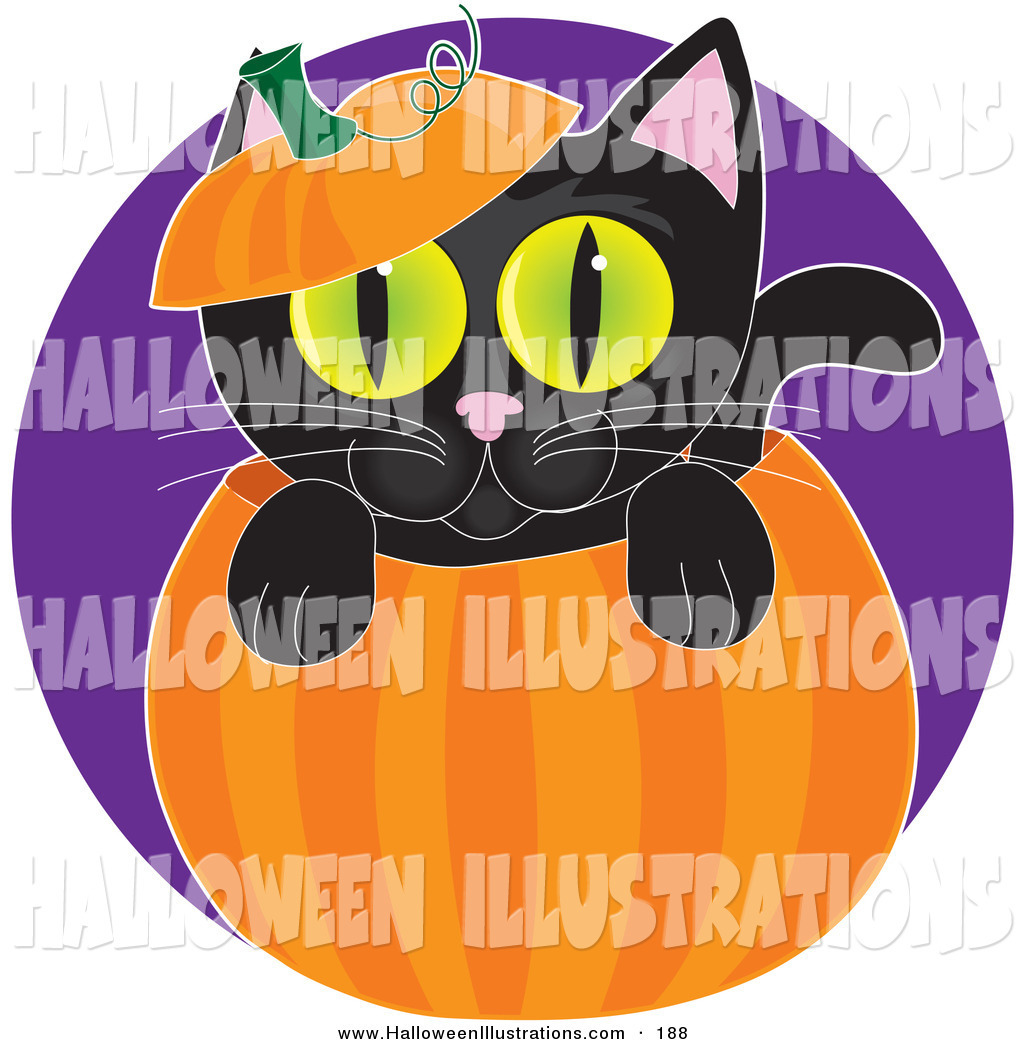 Green Eyes Peeping Out From Inside A Halloween Jack O Lantern By