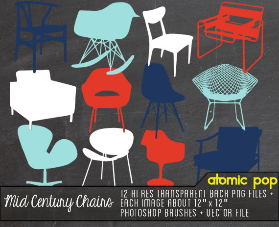 Instant Download    Mid Century Modern Chairs   Digital File Photoshop
