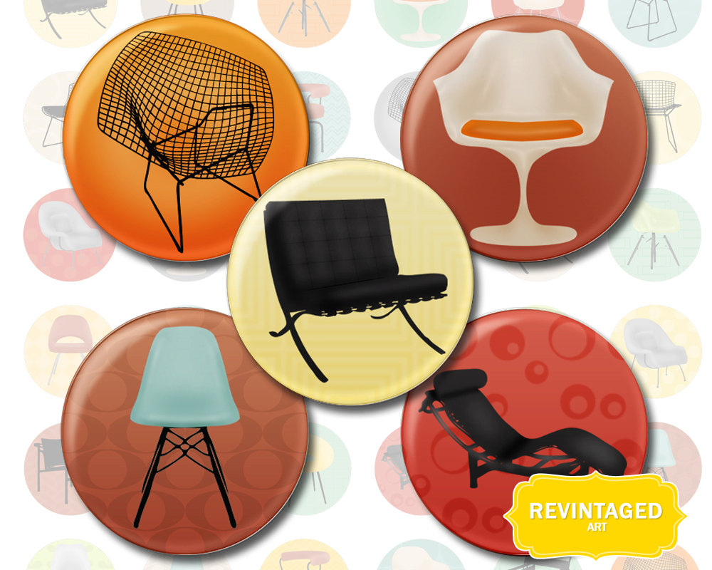 Mid Century Modern Chair 1 Inch Circles For Pendants Bottle Cap