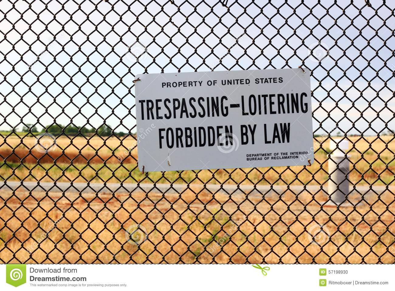 No Trespassing Or Loitering On Government Property Sign