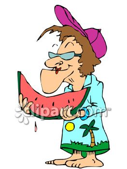 Old Lady Eating Watermelon   Royalty Free Clipart Picture