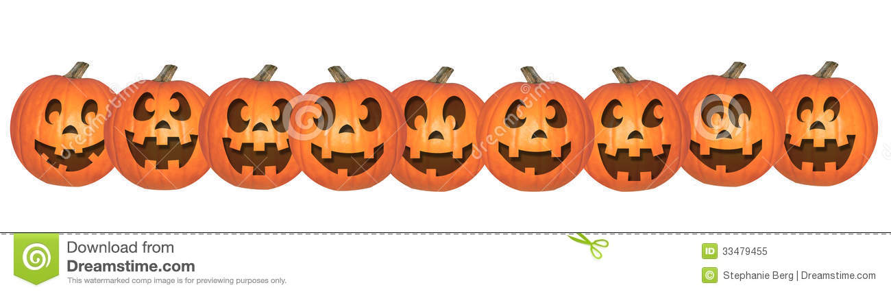Pumpkins In A Row Clipart Happy Halloween Pumpkins In A