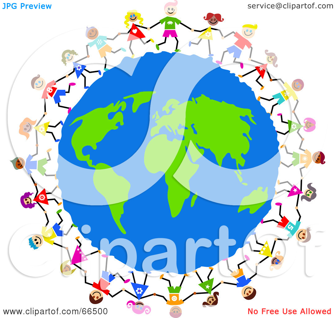 Royalty Free Rf Clipart Illustration Of Global Kids Circling Earth
