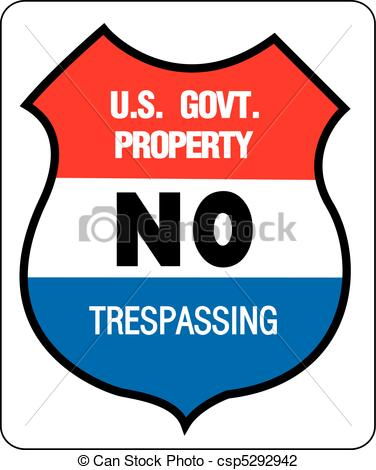 Vector   No Trepassing   Us Government Property   Stock Illustration