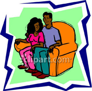 African American Couple Sitting In Love Seat Royalty Free Clipart
