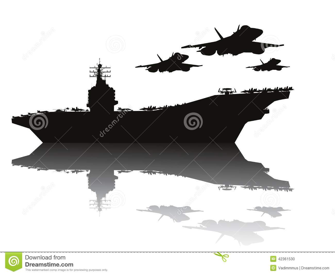 Aircraft Carrier And Flying Aircrafts Detailed Silhouettes  Vector