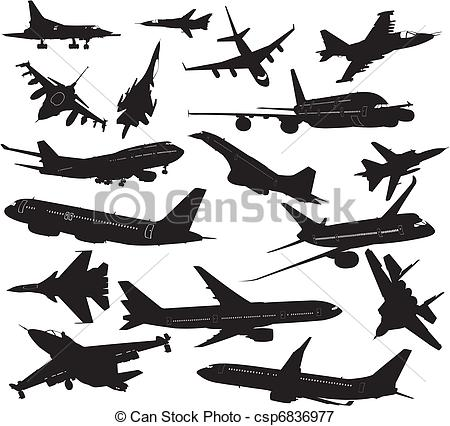 Aircraft Carrier Silhouette Set Silhouettes Of Clipart