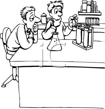 Black And White Cartoon Of Lab Partners Doing A Science Experiment