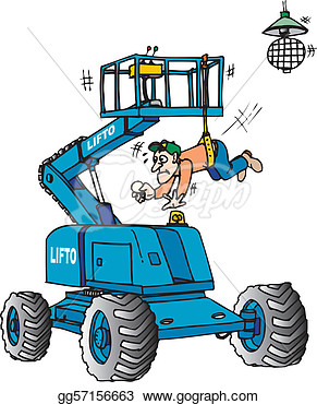 Boom Lift With Safety Harness On   Stock Illustration Gg57156663