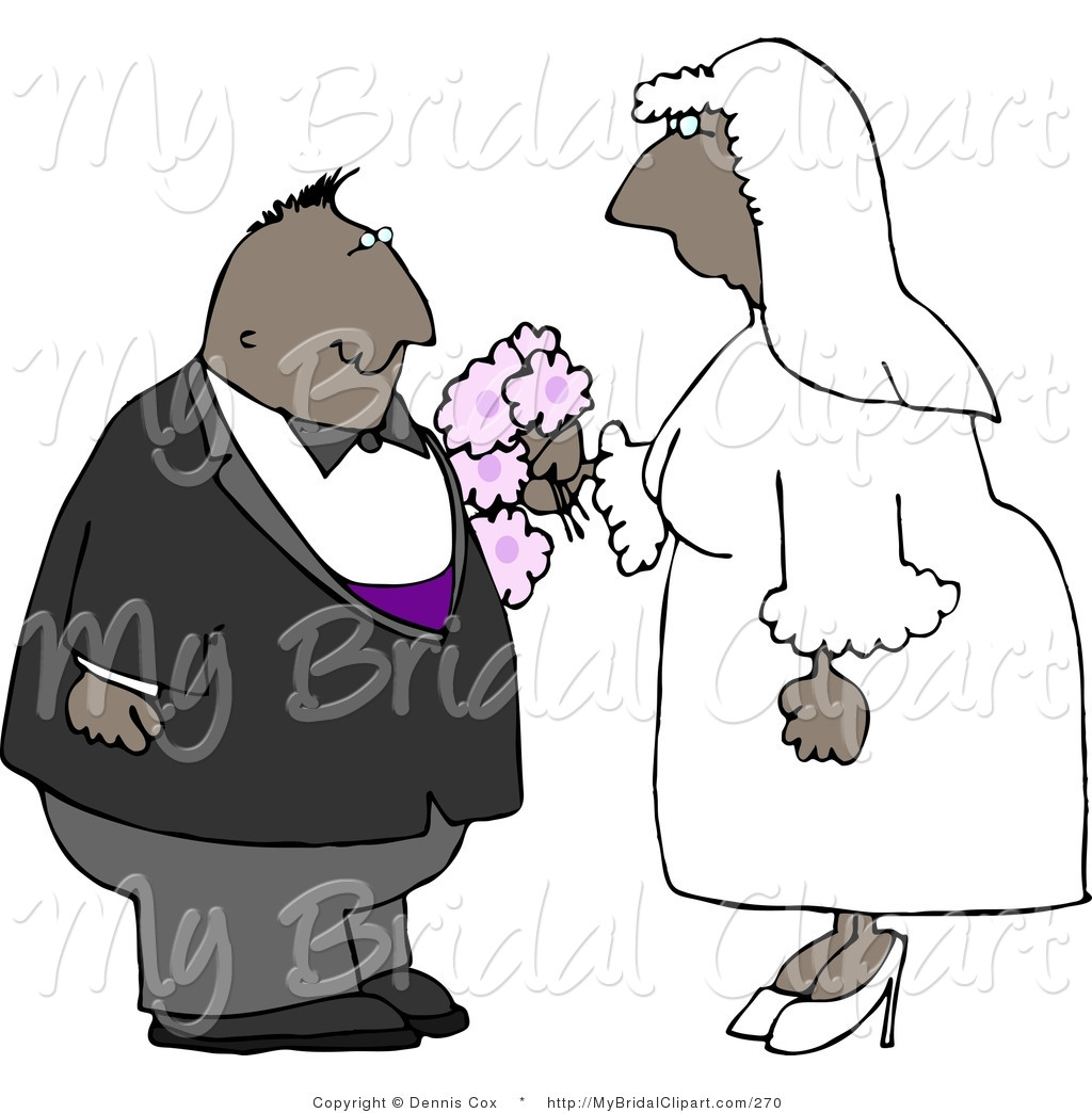 Bridal Clipart Of An African American Couple On Their Wedding Day By
