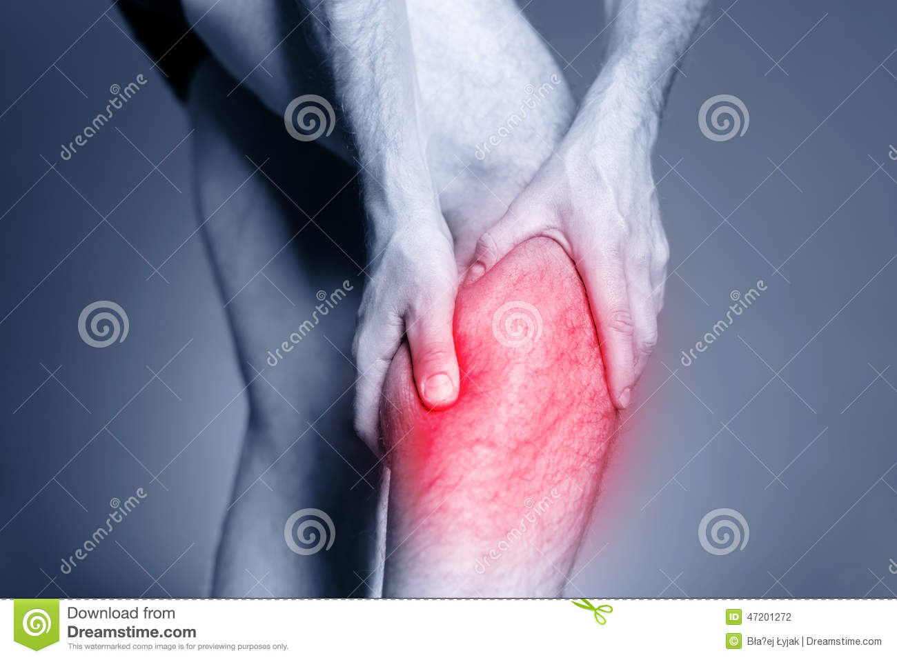 Calf Leg Pain Man Holding Sore And Painful Muscle Sprain Or Cramp