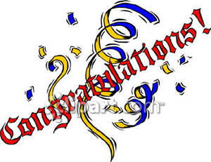 Congratulations Sign With Confetti   Royalty Free Clipart Picture