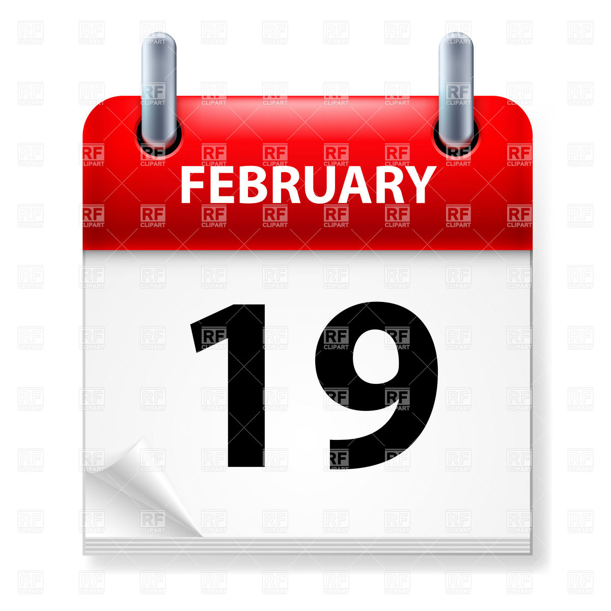 February 19   Calendar Icon Download Royalty Free Vector Clipart  Eps