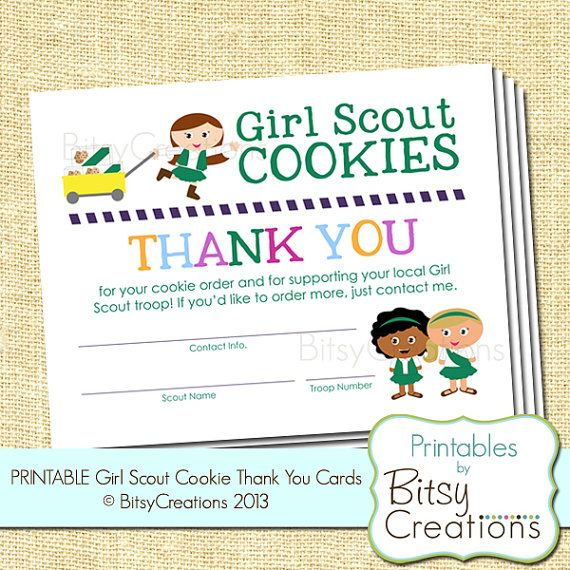 Girl Scout Cookie Thank You Printable Cards By By Bitsycreations  5