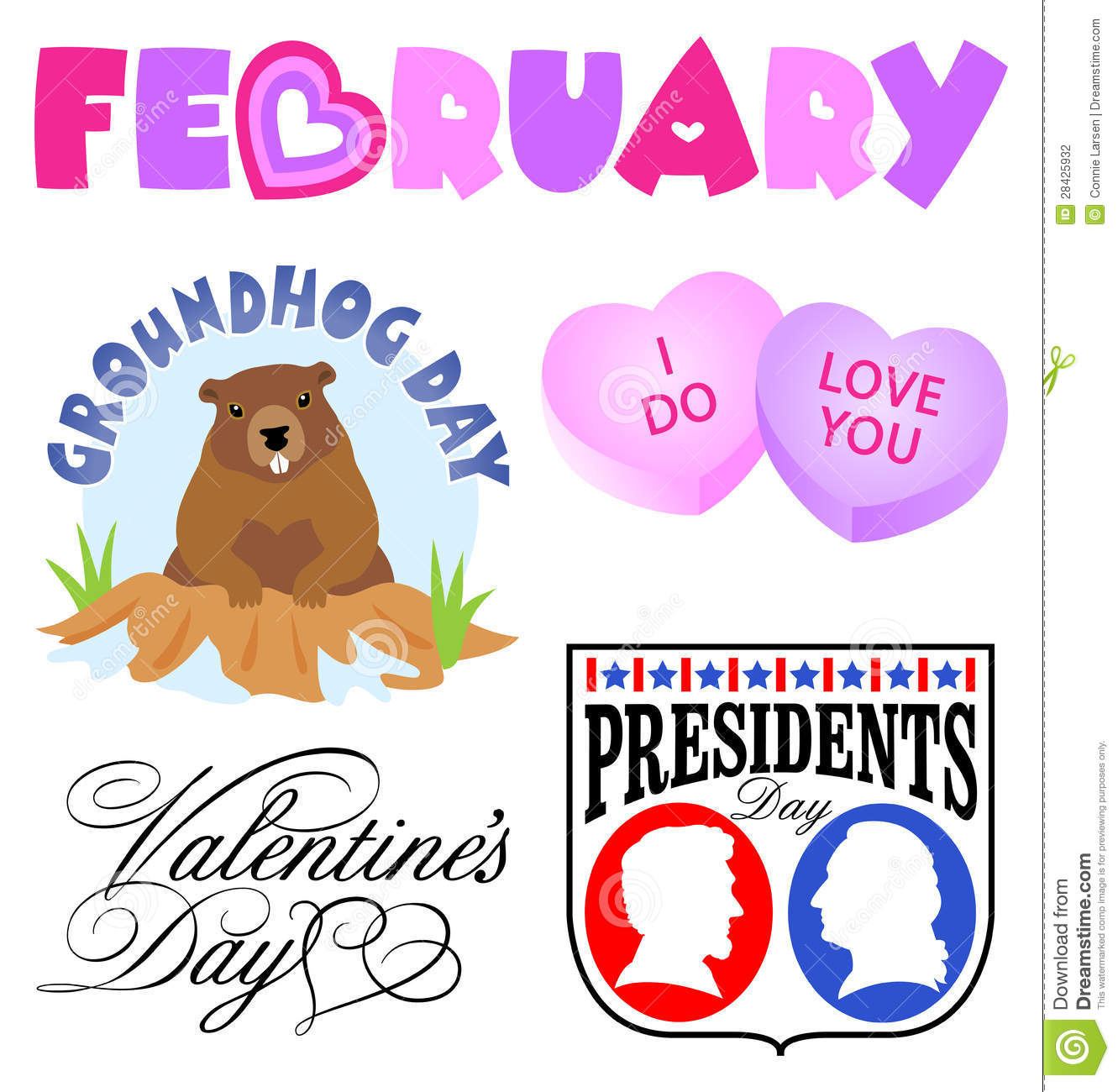 Illustrated Headlines For February Events Including Groundhog Day