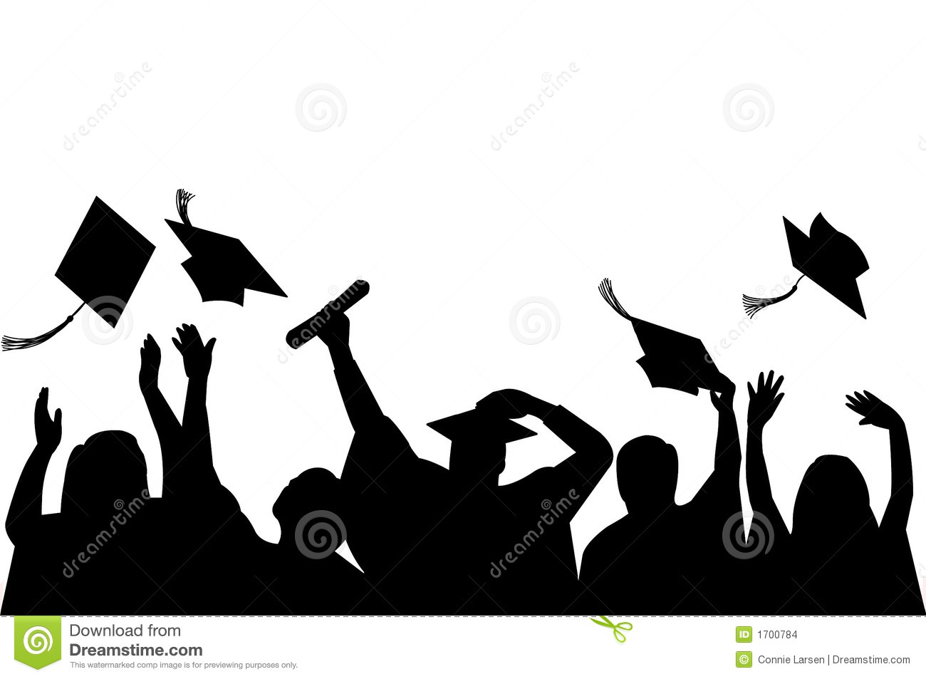Illustration Of A Group Of Graduates Tossing Their Caps In Celebration